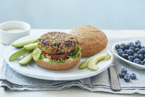 Black Bean Veggie Burgers with Blueberries
