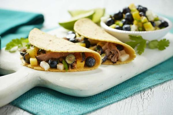 Pork Tacos With Blueberry Pineapple Salsa