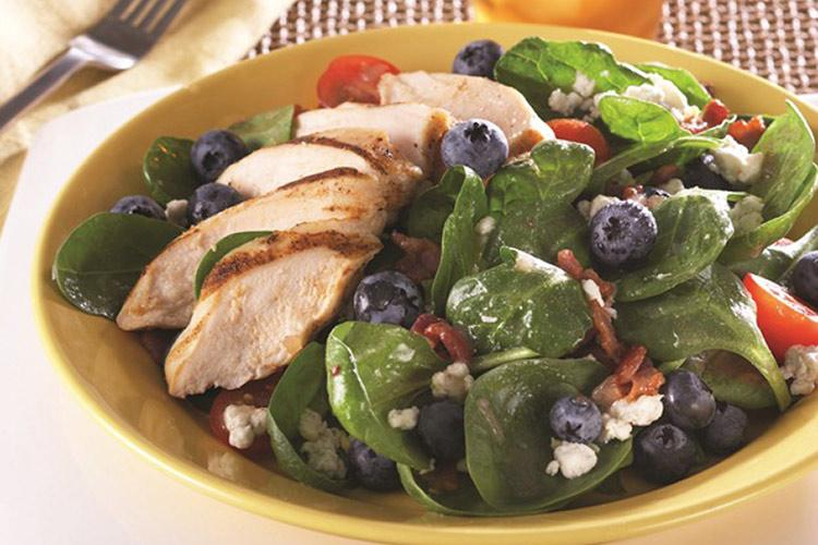 Blueberry Spinach Salad with Hot Bacon Dressing