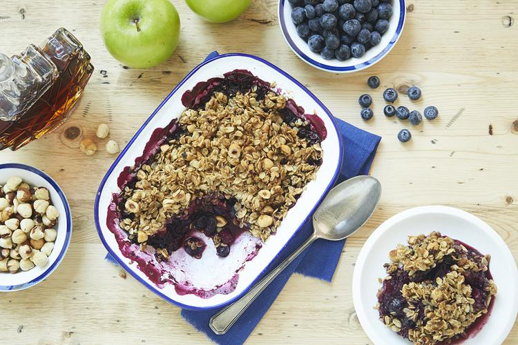 Blueberry Apple Crisp with Hazelnuts