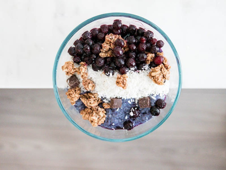 Blueberry Chia Oat Milk Pudding