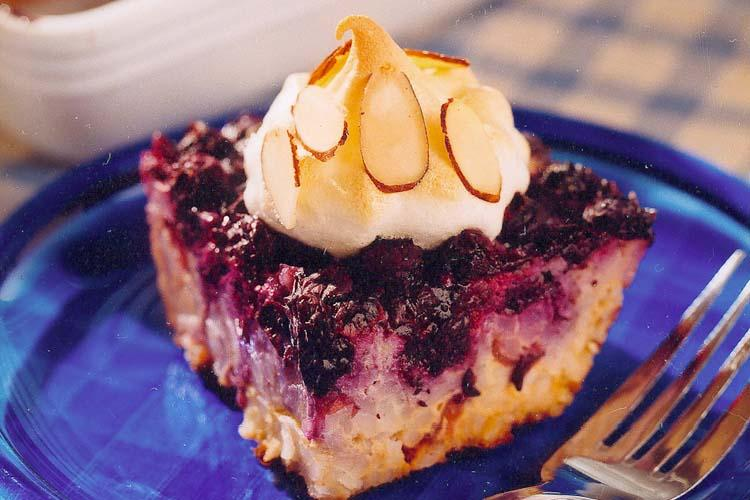 Baked Blueberry Meringue Rice Pudding