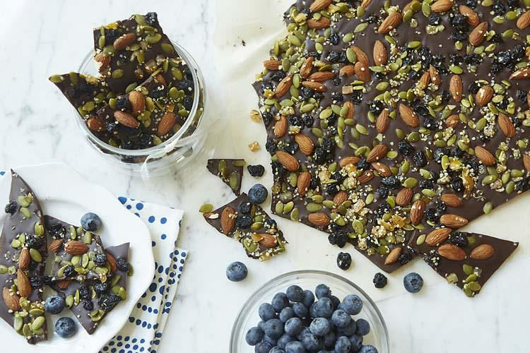 Dark Chocolate Blueberry Nut Bark