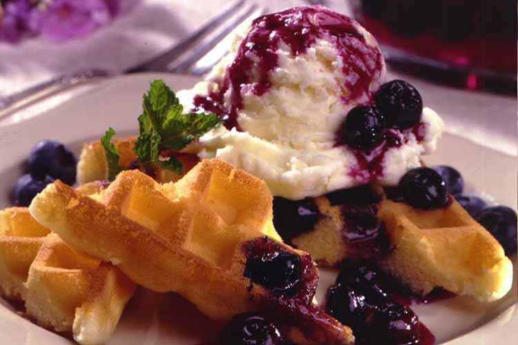 Dessert Waffles With Spiced Blueberry Sauce